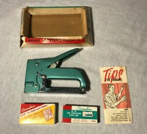 Vintage Turquoise Swingline 101 Stapler Tacker In Original Box W Staples