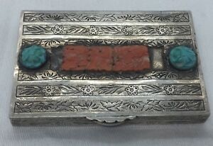 Chinese Antique Sterling Silver Coral Turquoise Ornate Card Case