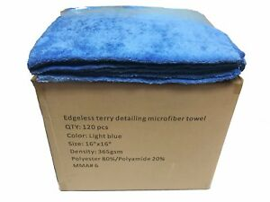 120 Case 16x16 Microfiber Edgeless Towels 365gsm Auto Detailing cleaning L Blue