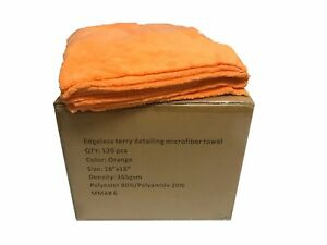 120 Case 16x16 Microfiber Edgeless Towels 365gsm Auto Detailing cleaning Orange