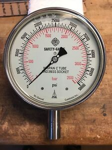 Mcdaniel Controls High Pressure Safety Gauge 50 000 Psi 3500 Bar 316ss New