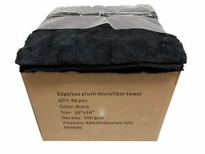 96 Case 16x16 Microfiber Edgeless Towels 500gsm Auto Detailing cleaning Black