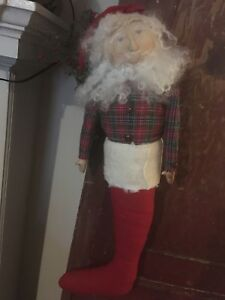 Primitive Santa Claus Stocking Doll Unique Hand Crafted Christmas Decoration