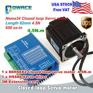 usa 4 5n m Nema34 82mm Closed Loop Servo Motor 6a hss86 Hybrid Cnc Driver Kit