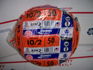 Romex Electrical Wire 10 2 With Ground 50 Feet Nonmetallic Sheathed Cable