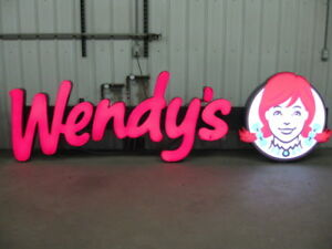 Wendy's Logo Lighted Commercial Outdoor Store Marquee Sign 150