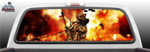 War Scene Helicopter Army Soldier Military Rear Window Graphic Decal Suv Truck