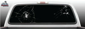 Broken Crack Glass Fake Black Perforated Rear Window Graphic Decal Suv Truck Car
