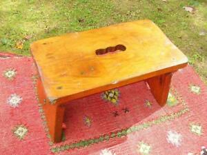 Primitive Farmhouse Old Wood Foot Stool With Traces Of Original Old Paint
