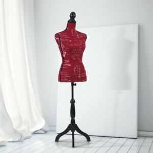 Red Female Mannequin Clothes Torso Dress Form W Wooden Tripod Standing Y9v3