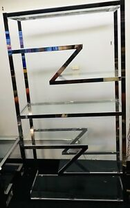 Mid Century Modernist Z Chrome Etagere W Glass Shevles By Milo Baughman