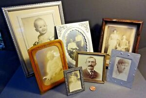 7 Piece Lot Of Antique Photo Frames W Easel Backs Celluloid Brass Wood Czech