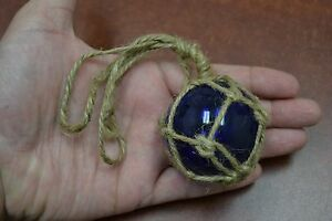 Reproduction Cobalt Blue Glass Float Ball Buoy With Fishing Net 2 F 362