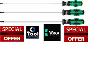 Wera Tools Screwdriver Set 3pce Extra Long 300mm Blade Ph2 Pz2 Slotted 5 5mm