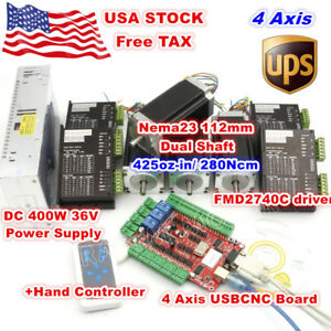 usa 4 Axis Nema23 112mm Stepper Motor 425oz in Dual Shaft Cnc driver Usbcnc Kit
