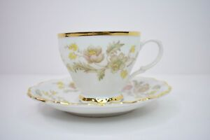 Belcrest Tea Cup And Saucer Fine China Gold Flowers Made In W Germany