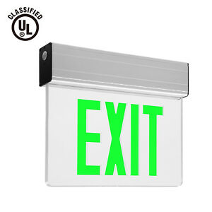 Green Led Exit Sign Ul listed Emergency Light Battery Included