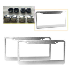 2pc Chrome Stainless Steel License Plate Frames With Tag Cover Screw Caps
