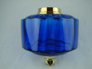 Victorian Bristol Blue Moulded Glass Oil Lamp Font Brass Screw Fit Collar
