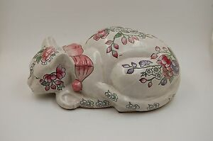 Antique Hand Painted Kutani Cat Figurine