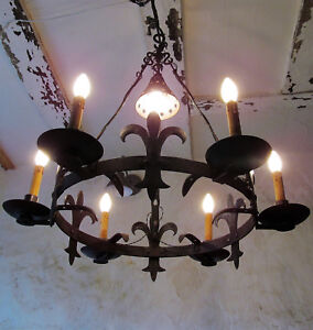 Huge French Medieval Rustic Iron And Steel 6 Branch Chateau Chandelier