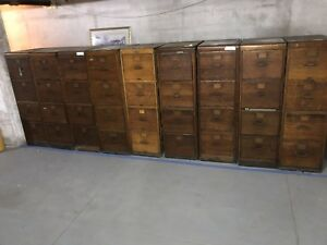 10 Antique Tiger Oak Library Bureau Sole Makers 4 Drawer Filing Cabinets
