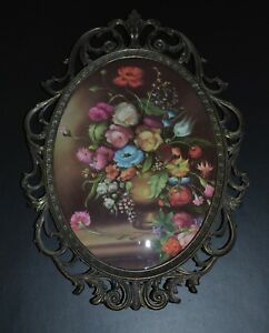 Vintage Made Italy Ornate Oval Picture Frame With Floweres