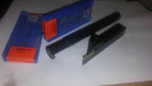 Set X2 Lathe Grooving Cut off Tool Holder For Mgmnx Carbide 20 Inserts