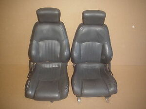 00 02 Trans Am Ebony Leather Seat Seats Set 0326 7