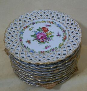 12 Dresden Shierholz Saxony Reticulated Porcelain Plates Floral Germany