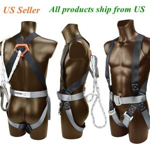 Safety Fall Protection Kit Full Body Harness W 6 Shock absorbing Safey Lanyard