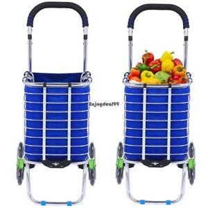 Folding Shopping Cart 360 Rotating Double Handle Trolley large Cloth Bag Oo55