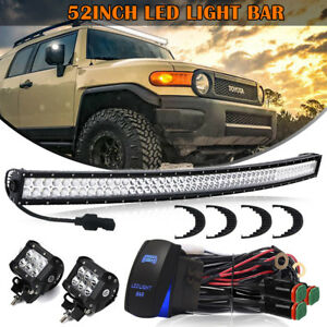 52 Inch 300w Curved Led Light Bar Upper Roof For 99 04 Jeep Grand Cherokee Wj