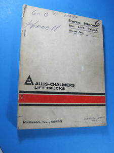 Allis Chalmers F163 S n 30133640 P 40 50 Parts Manual Fork Lift
