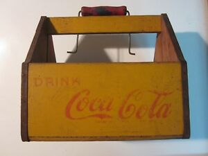 COCA COLA 6 PACK BOTTLE WOODEN YELLOW CARRIER VINTAGE DRINK COCA COLA  1940'S