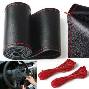 38cm Black Red Pu Leather Diy Car Steering Wheel Cover With Needles And Thread