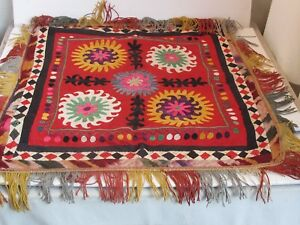 Antique Uzbekistan Silk Hand Embroidery Suzani 23 X 25 With Fringe