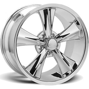 18x10 Chrome Rocket Racing Modern Muscle Booster Wheels 5x4 5 25 Ford Mustang