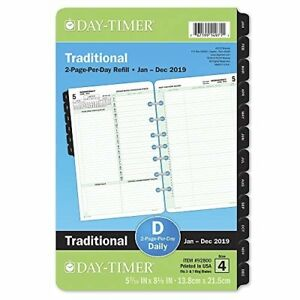 Day timer 2019 Daily Planner Refill 5 1 2 X 8 1 2 Desk Size 4 Loose Leaf T