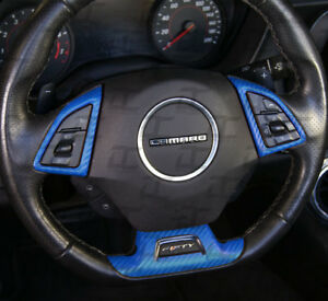 2016 2019 Camaro Blue Carbon Fiber Full Steering Wheel Decal Kit Chevy Cover