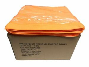 120 Ct 16x16 Premium Waffle Weave Towels Cleaning detailing Towels 370gsm Orange