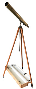 Antique French Bardou Sons Brass Telescope With Wooden Tripod
