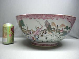 Rare Antique 19th Century Chinese Export Porcelain Punch Bowl 14 Hunting Scenes