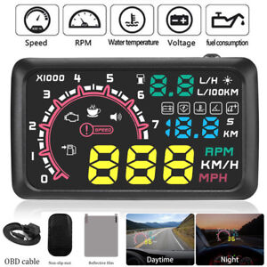5 5 Car Obd2 Hud Head Up Display Vehicle Fuel Consumption Speed Warning System