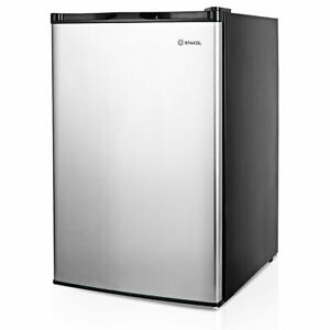 3 Cu ft Compact Upright Freezer W single Stainless Steel Door Fixed Shelves