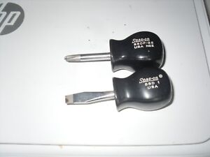 Snap On 2 Pc Stubby Screwdriver Set Ssd1 Flat Slotted Ssdp 22 Philips Usa Black