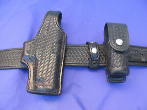 Medium small Cordovan Aker Basketweave Police Duty Belt Sig Sauer P220 Holster