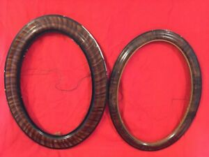 Pair Of Vtg Oval Tiger Oak Wood Wooden Picture Frame Frames Only