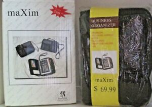Vintage Maxim Black Faux Leather Business Organizer With Calculator New In Box