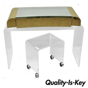 Lucite Waterfall Mirrored Vanity Table W Vanity Bench Brass Trim Chrome Wheels